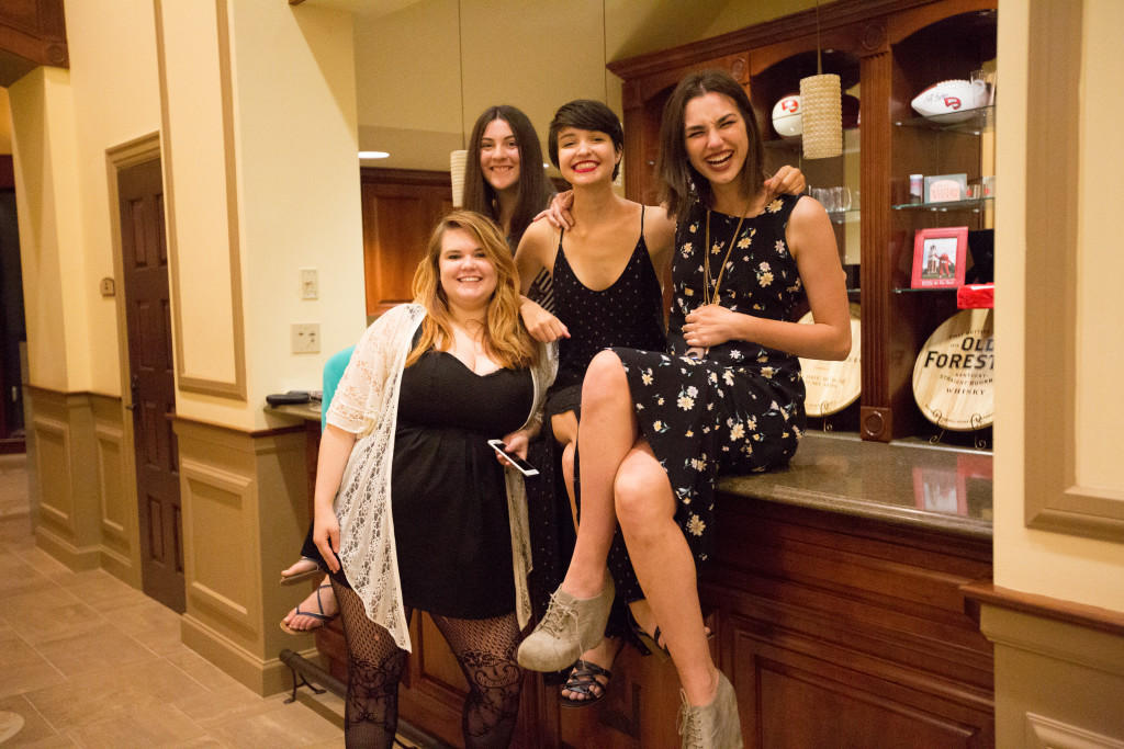 Emily Kask, Alyse Young, Lauren Nolan, and Nicole Boliaux at the Spring 2015 Student Publications End of the Year Dinner at the Augenstein Alumni Center on May 8th, 2014.