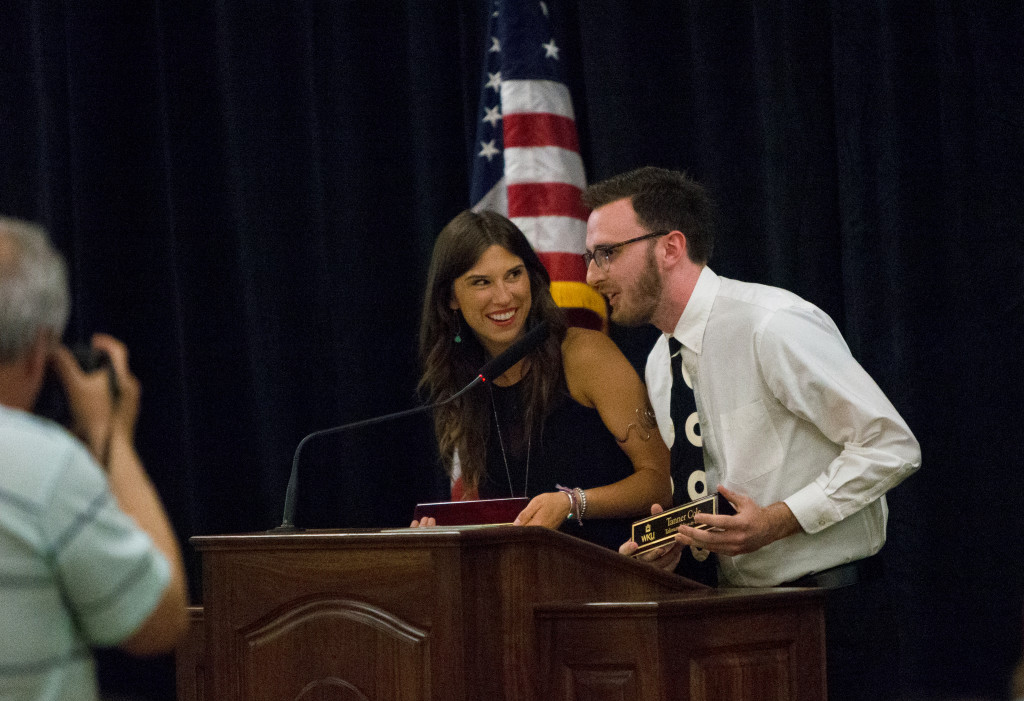 Naomi Driessnack and Tanner Cole, the incoming editors of the Talisman, speak during the Spring 2015 Student Publications End of the Year Dinner at the Augenstein Alumni Center on May 8th, 2014.
