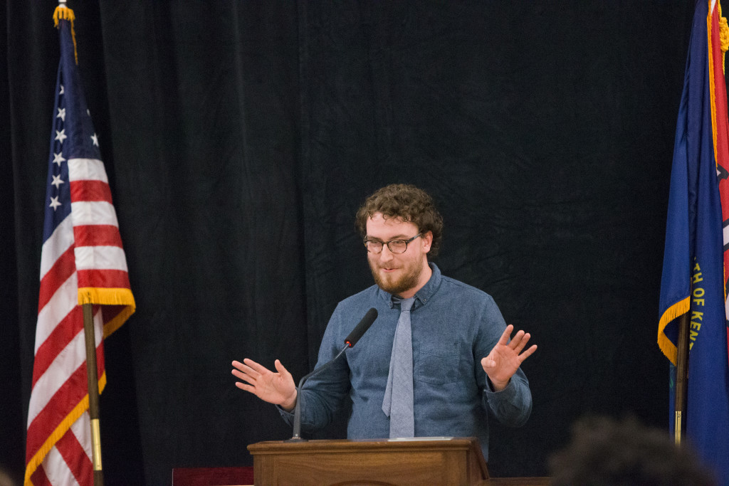 Cameron Love, the outgoing editor of the Herald, speaks during the Spring 2015 Student Publications End of the Year Dinner at the Augenstein Alumni Center on May 8th, 2014.