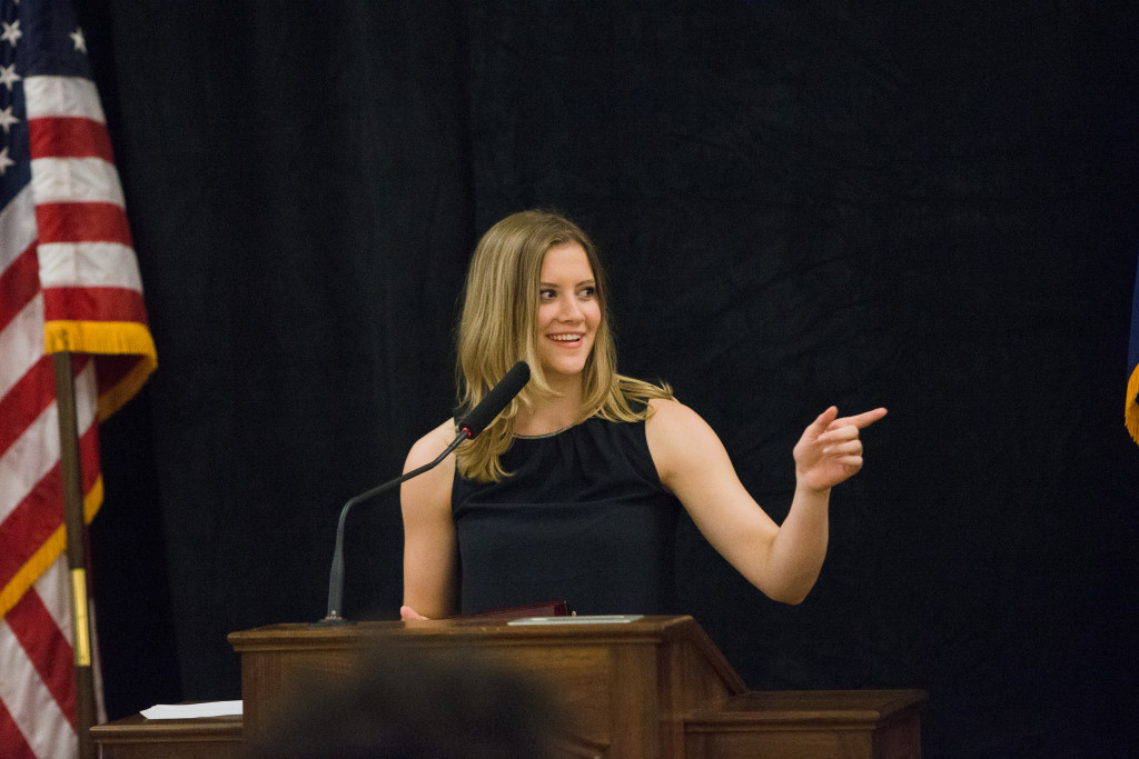 Kaely Holloway, the incoming editor of the Herald, speaks during the Spring 2015 Student Publications End of the Year Dinner at the Augenstein Alumni Center on May 8th, 2014.