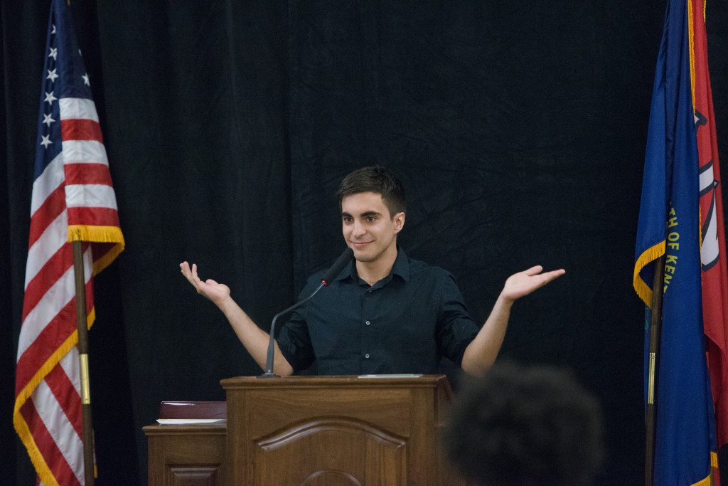 Zach Tatoian, the outgoing ad manager of the Herald, speaks during the Spring 2015 Student Publications End of the Year Dinner at the Augenstein Alumni Center on May 8th, 2014.