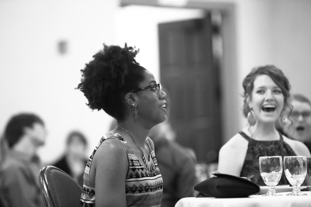 Bria Granville reacts after winning a scholarship during the Spring 2015 Student Publications End of the Year Dinner at the Augenstein Alumni Center on May 8th, 2014.